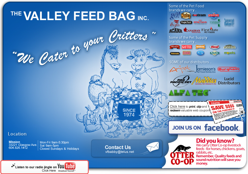 999c1bf5696 The Valley Feed Bag Inc. |